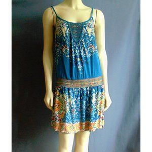 Lucky Brand Aqua Drop Waist Sun Dress S